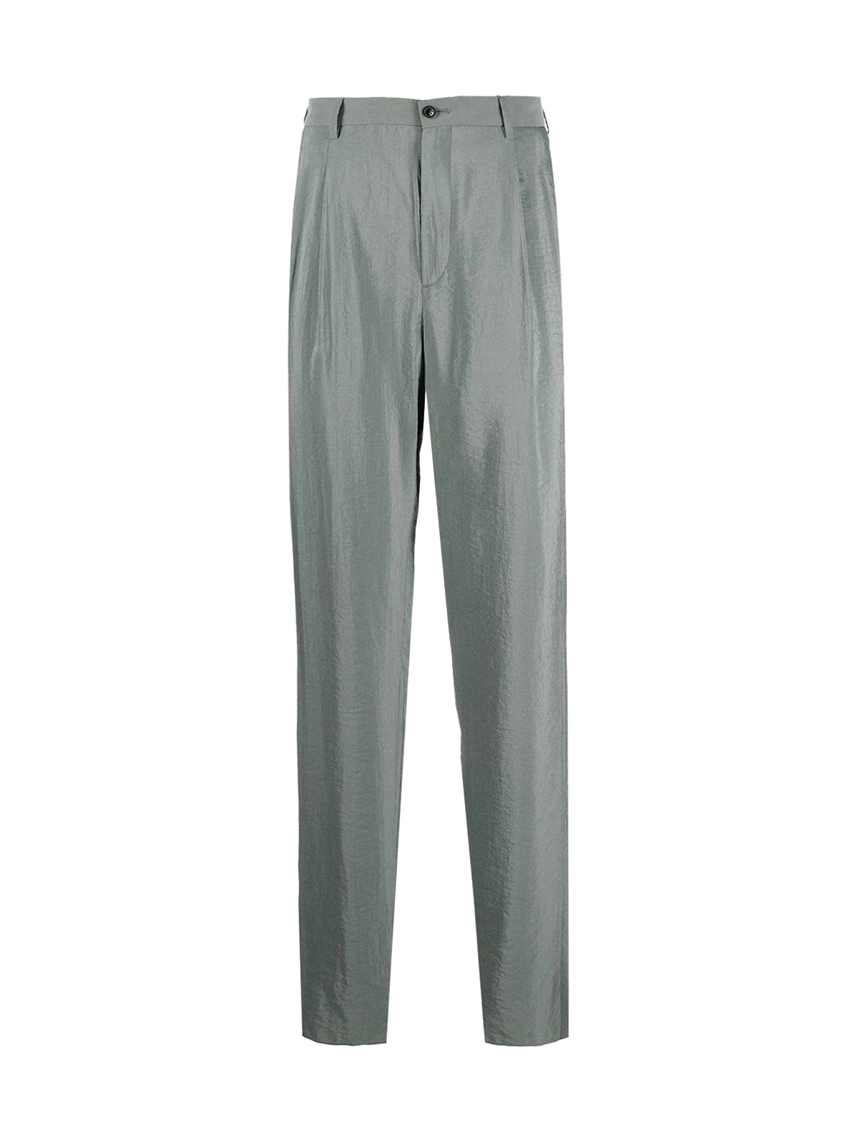 silk blend straight-fit trousers