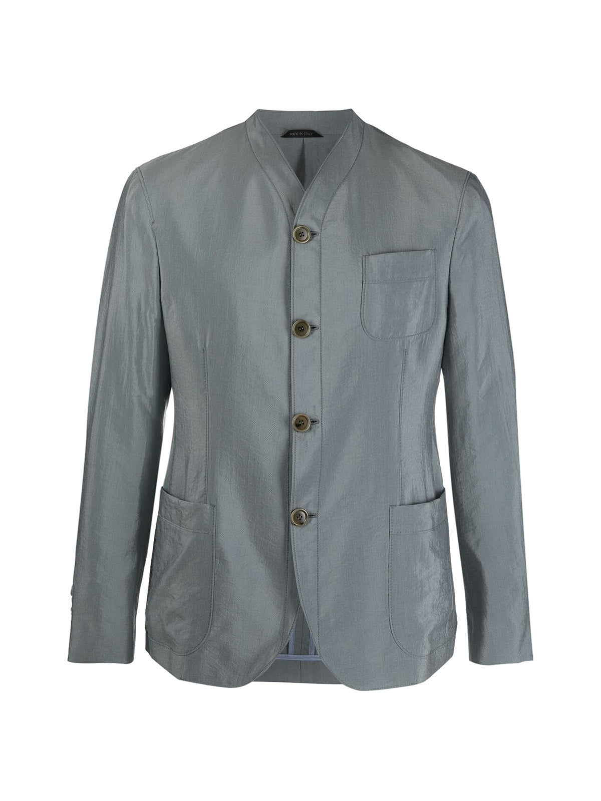 collarless button-up shirt jacket
