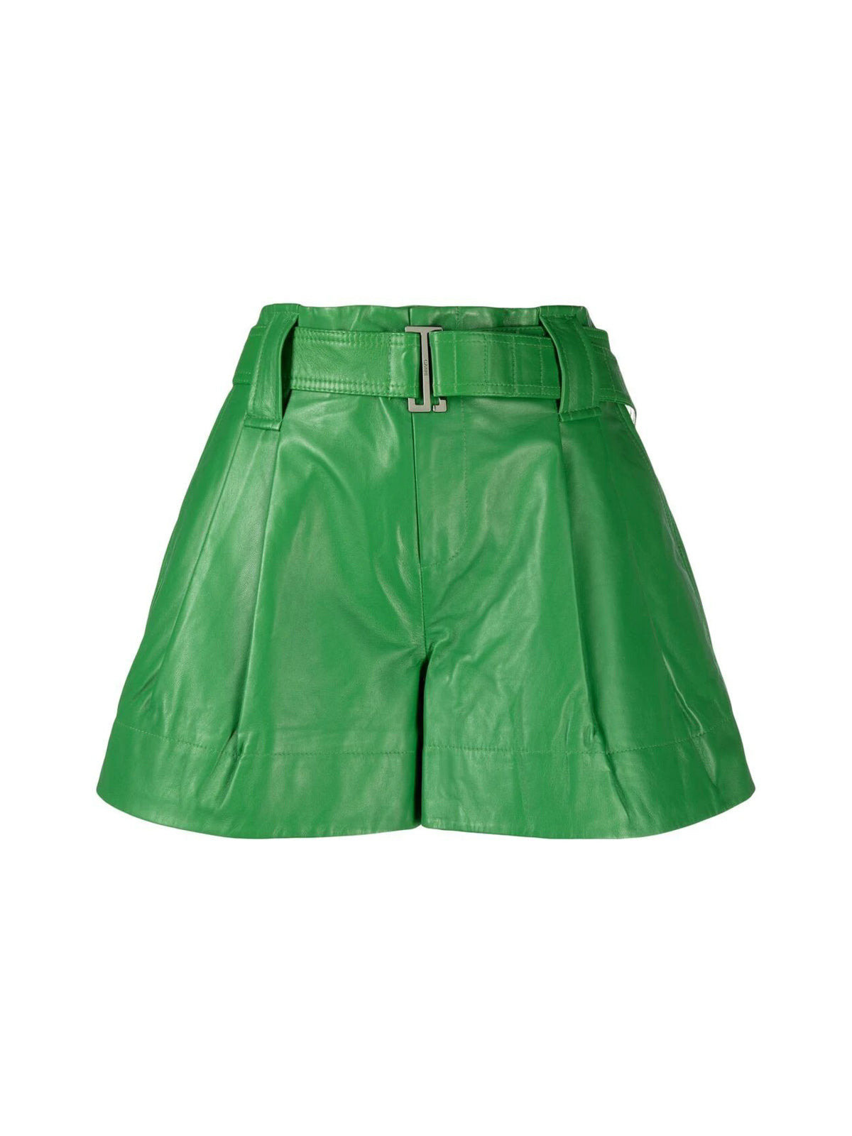 belted pleat-detail shorts