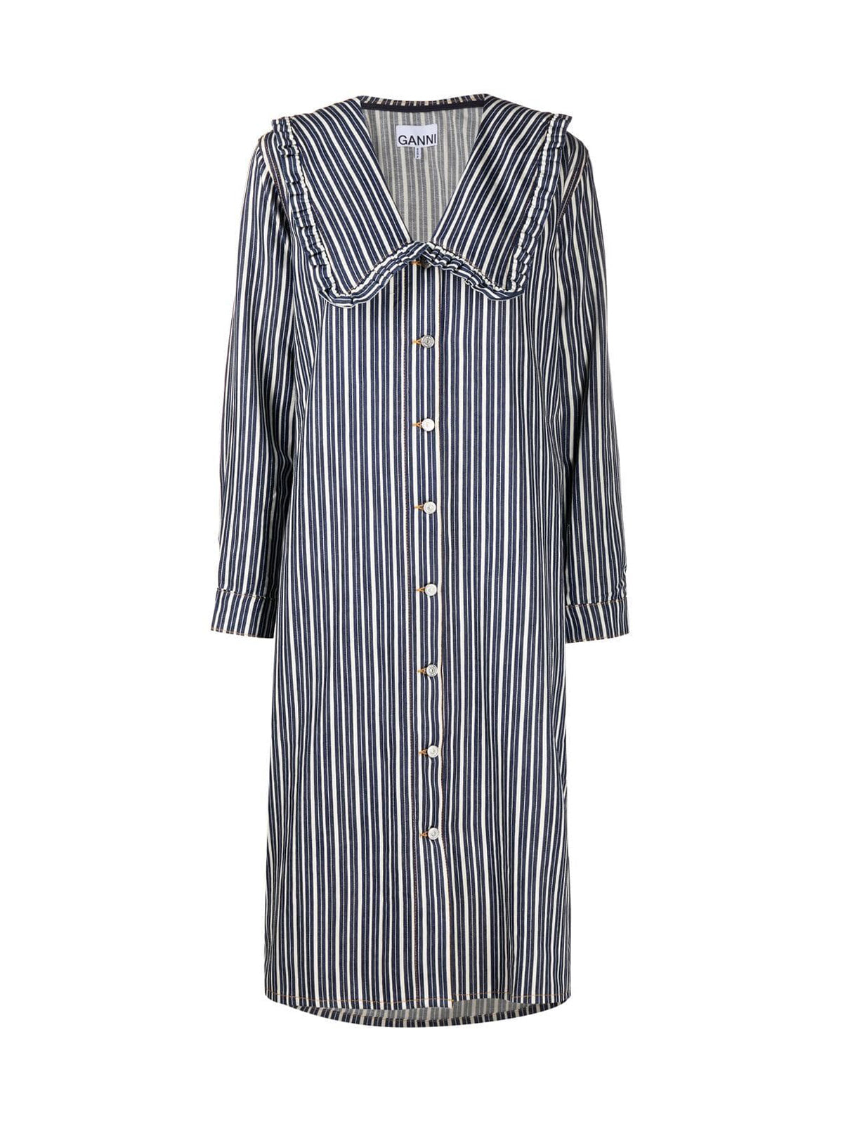 peter-pan collar striped denim dress