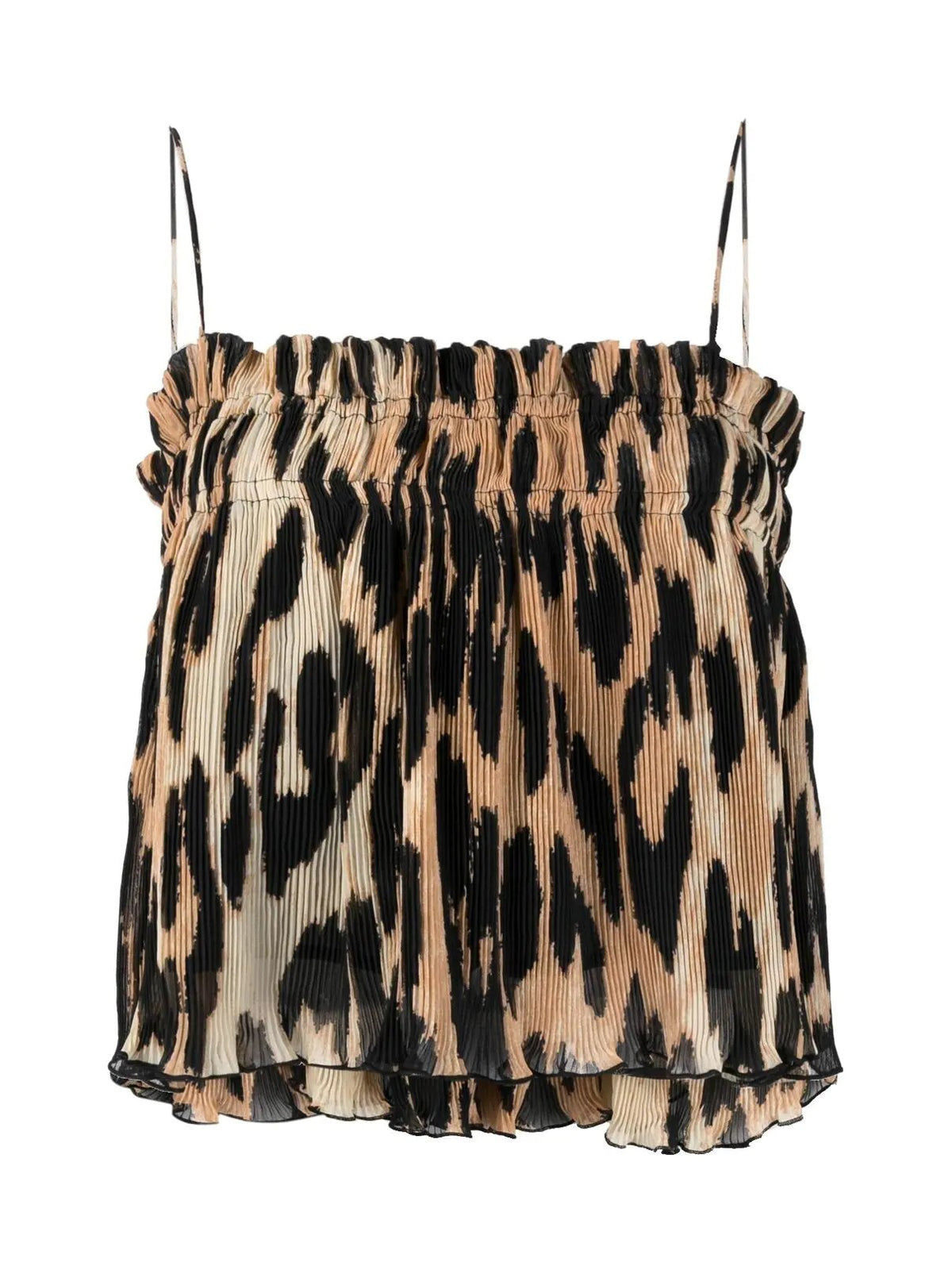 leopard-print pleated top