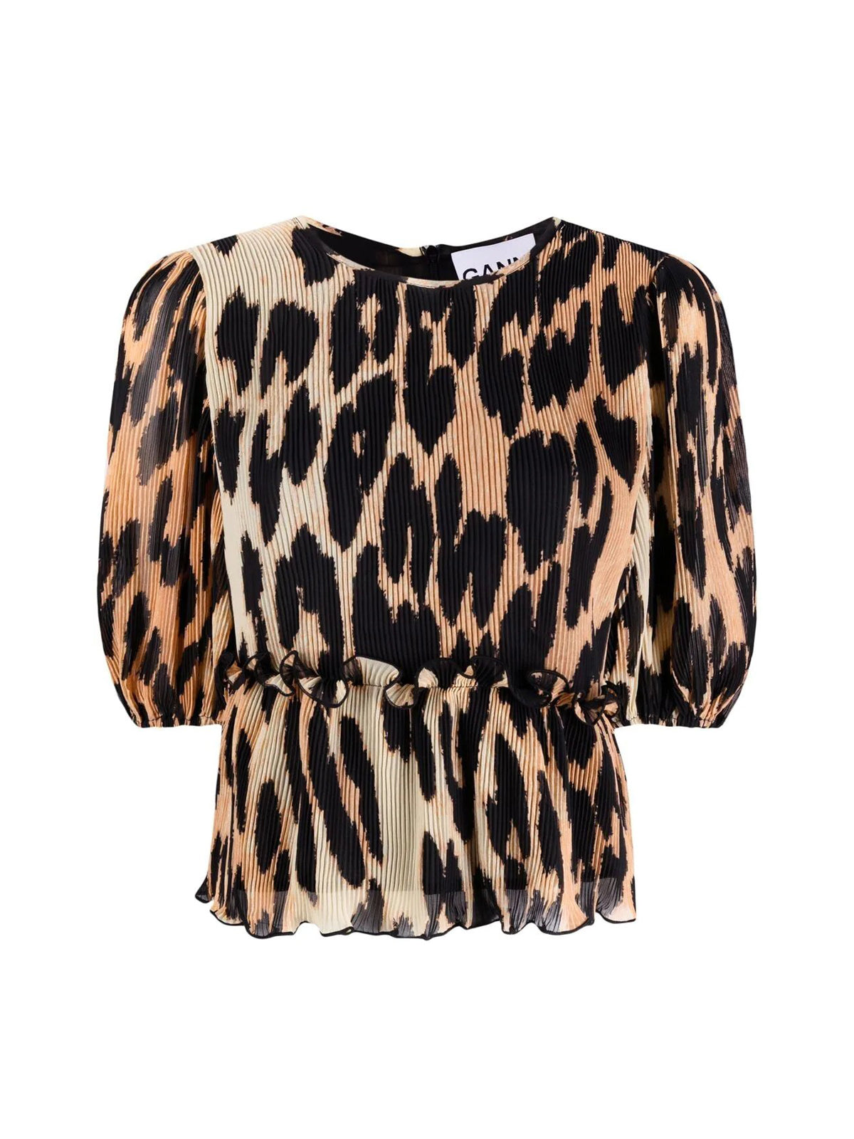 balloon-sleeve leopard-print blouse
