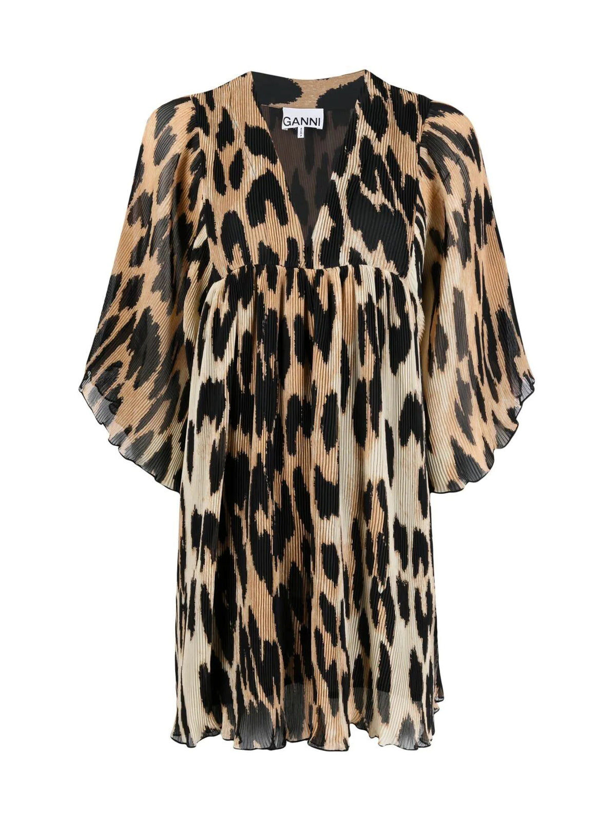 leopard-print pleated minidress