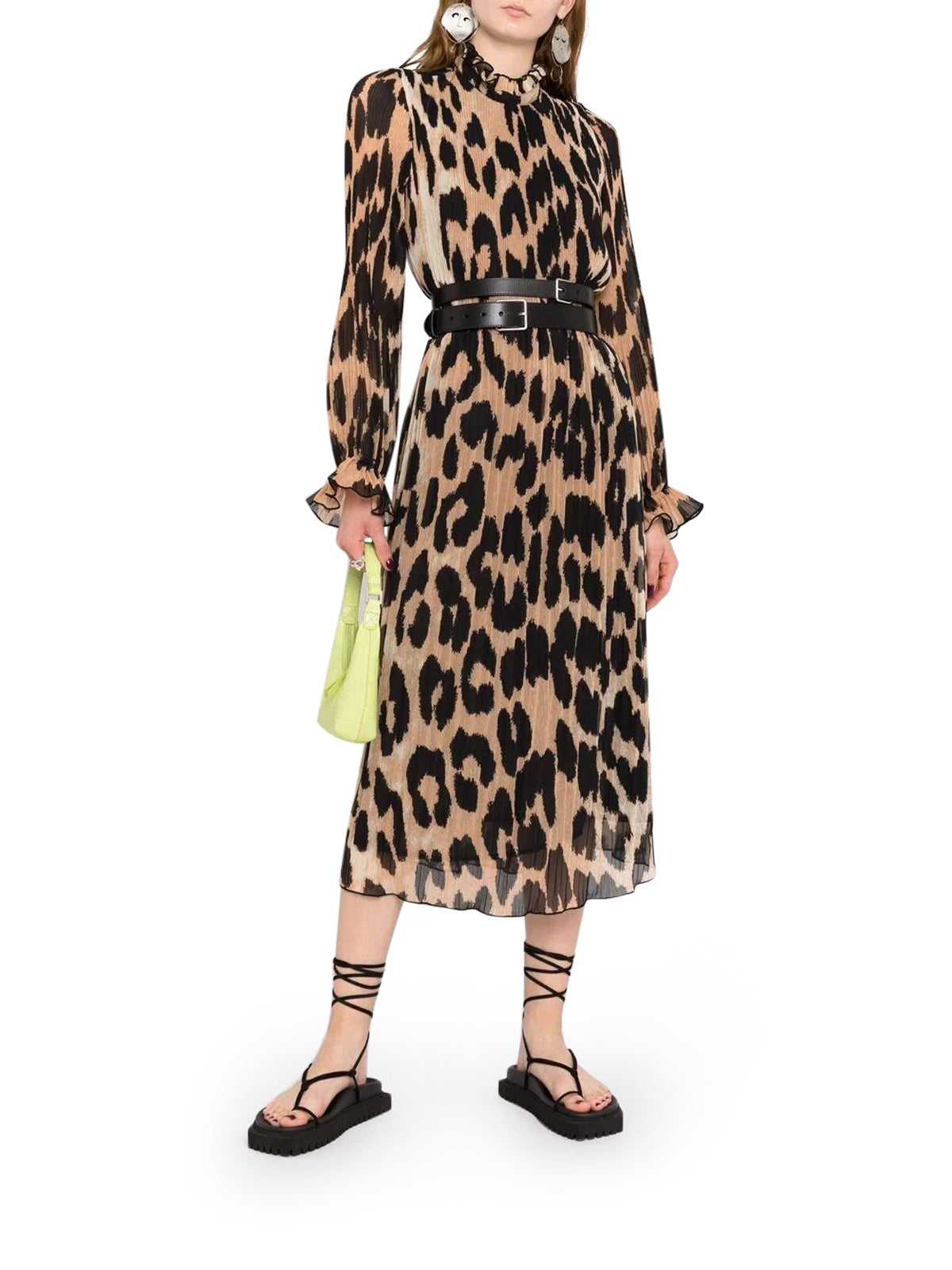 leopard-print georgette midi dress