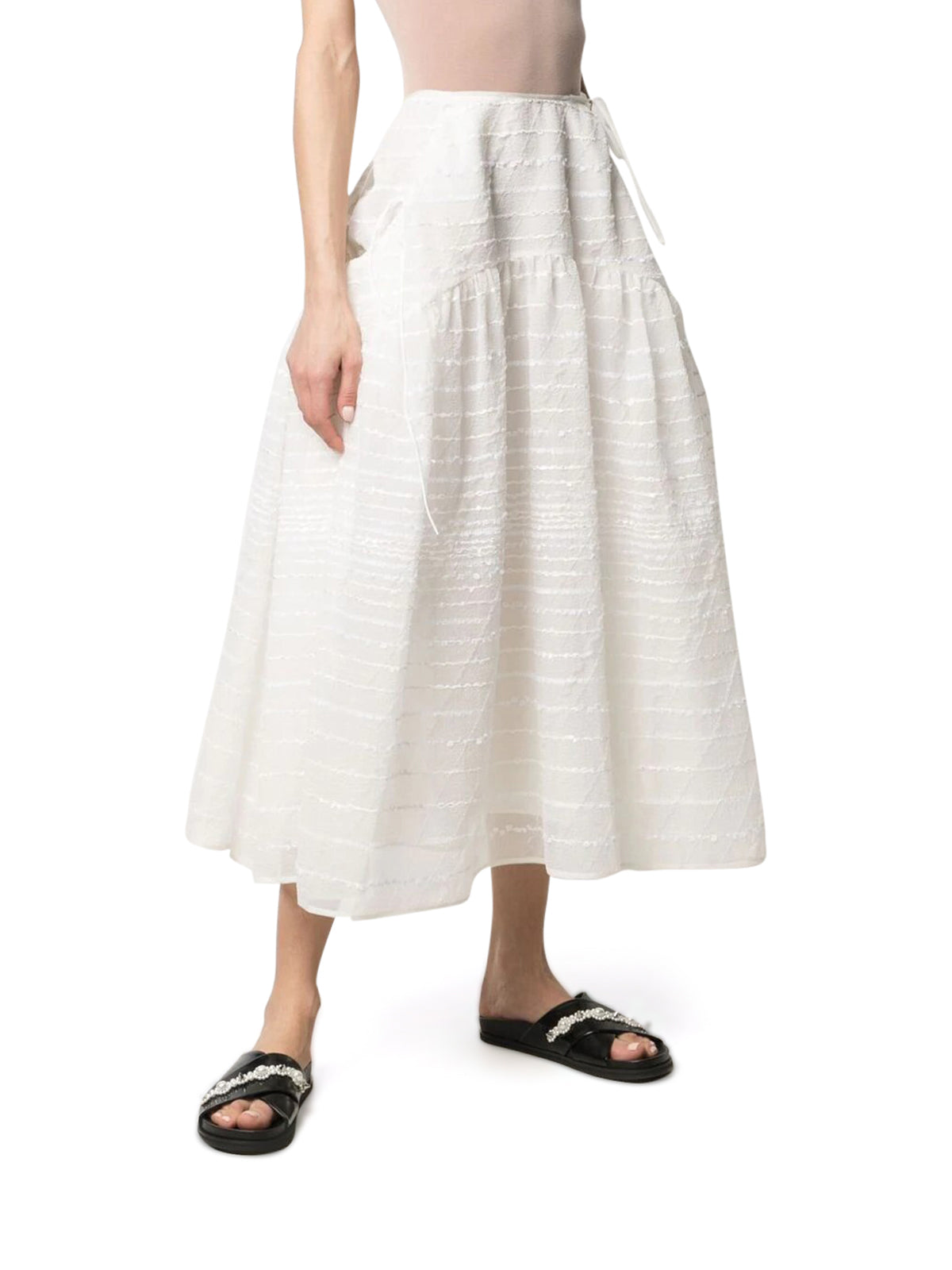 Cecilie Bahnsen FLARED SKIRT WITH EMBROIDERY