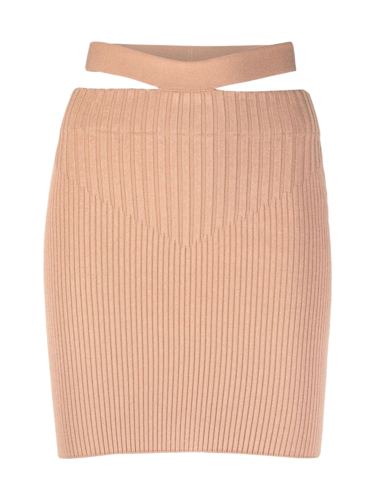 fitted ribbed-knit skirt