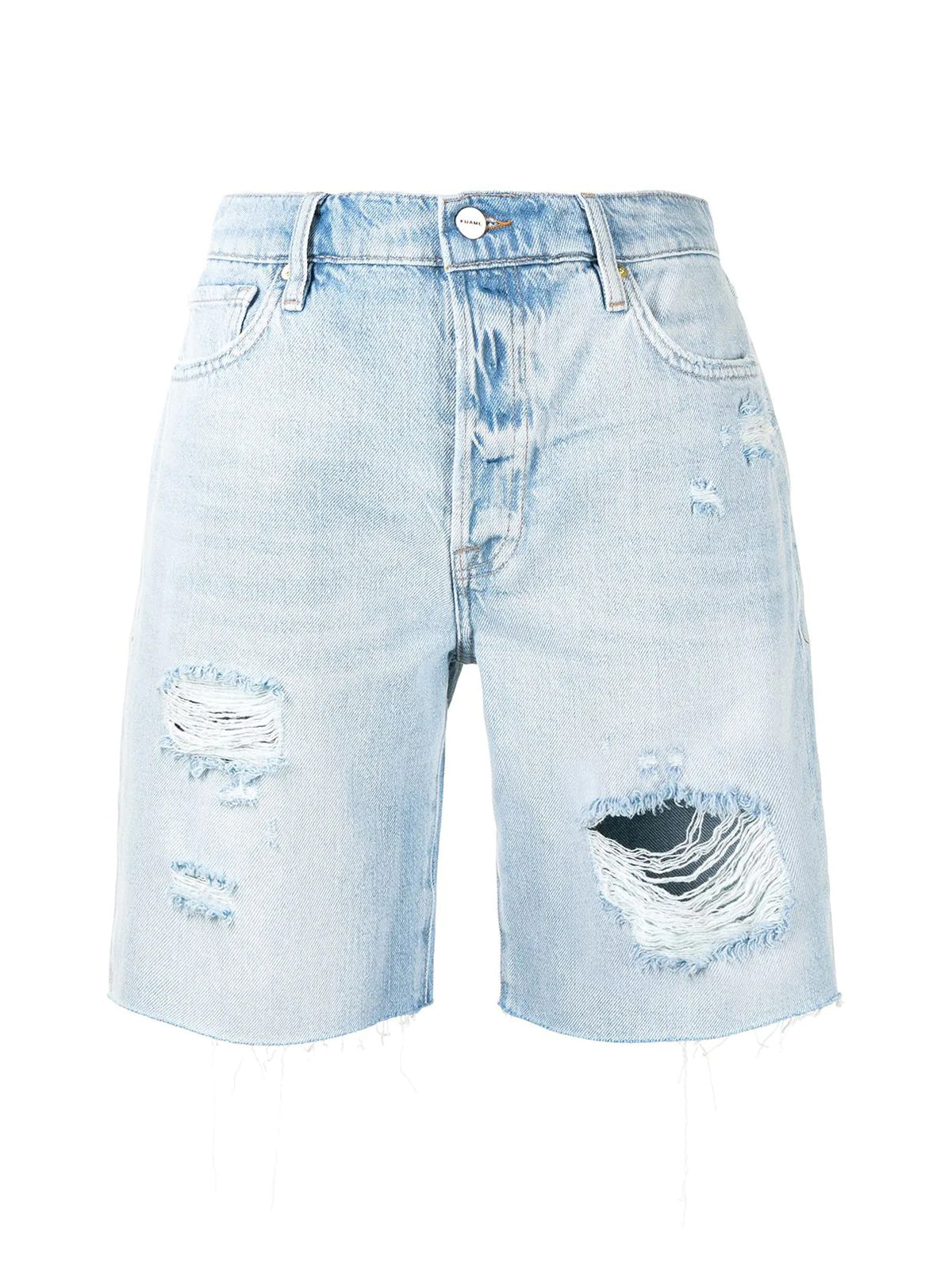 high-rise ripped shorts