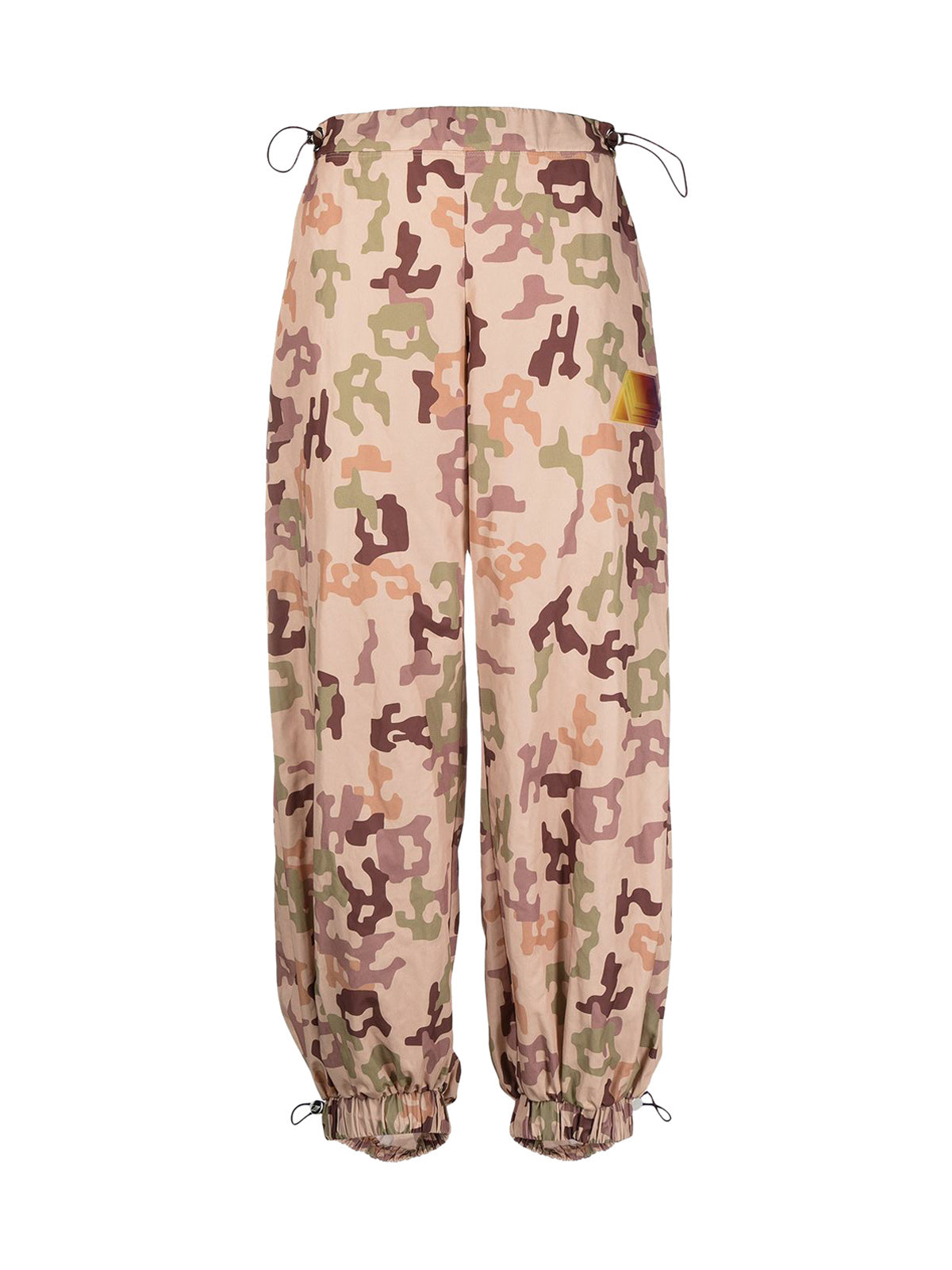 camouflage-print trousers