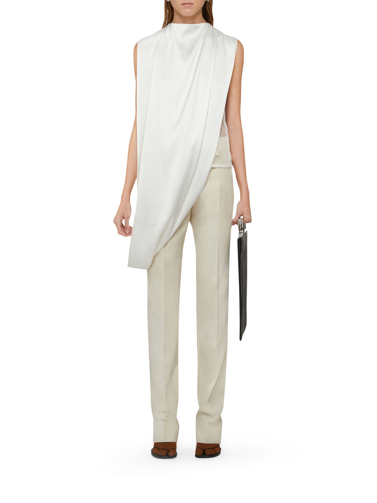 Givenchy Tops TOP ASYMMETRICAL DRAPE WITH JEWEL RING
