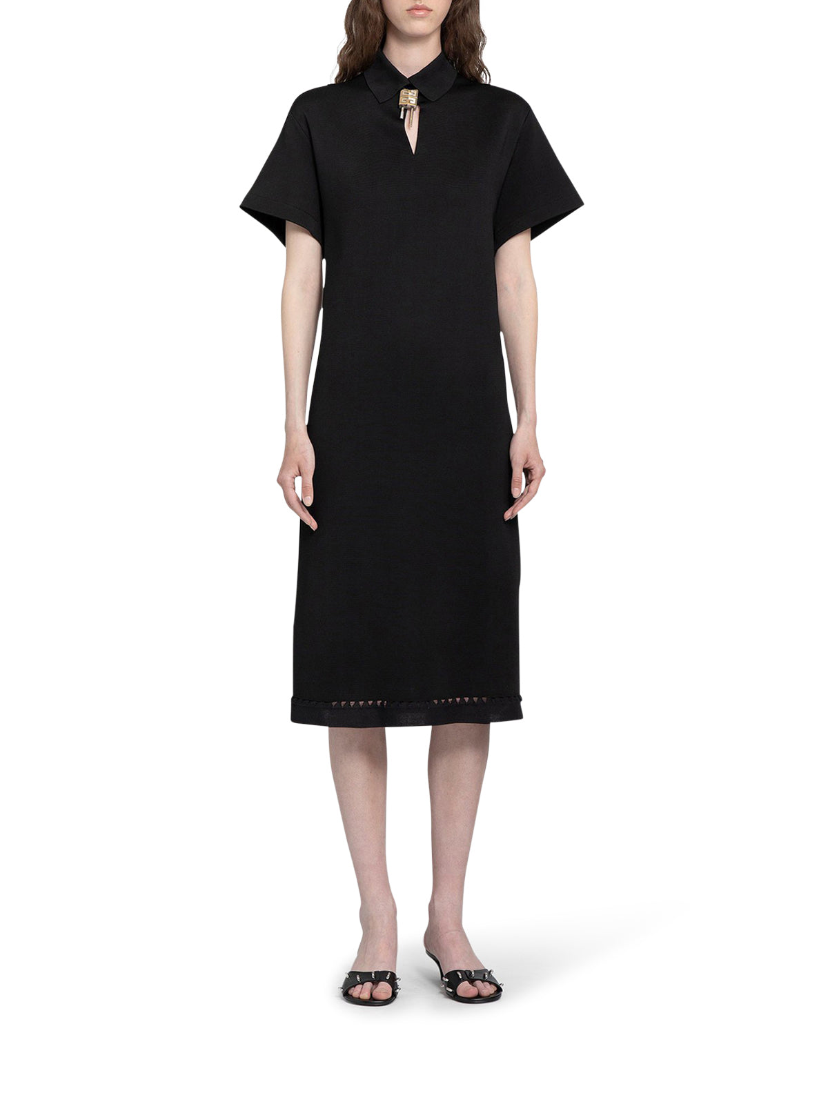Black midi dress with logo lock