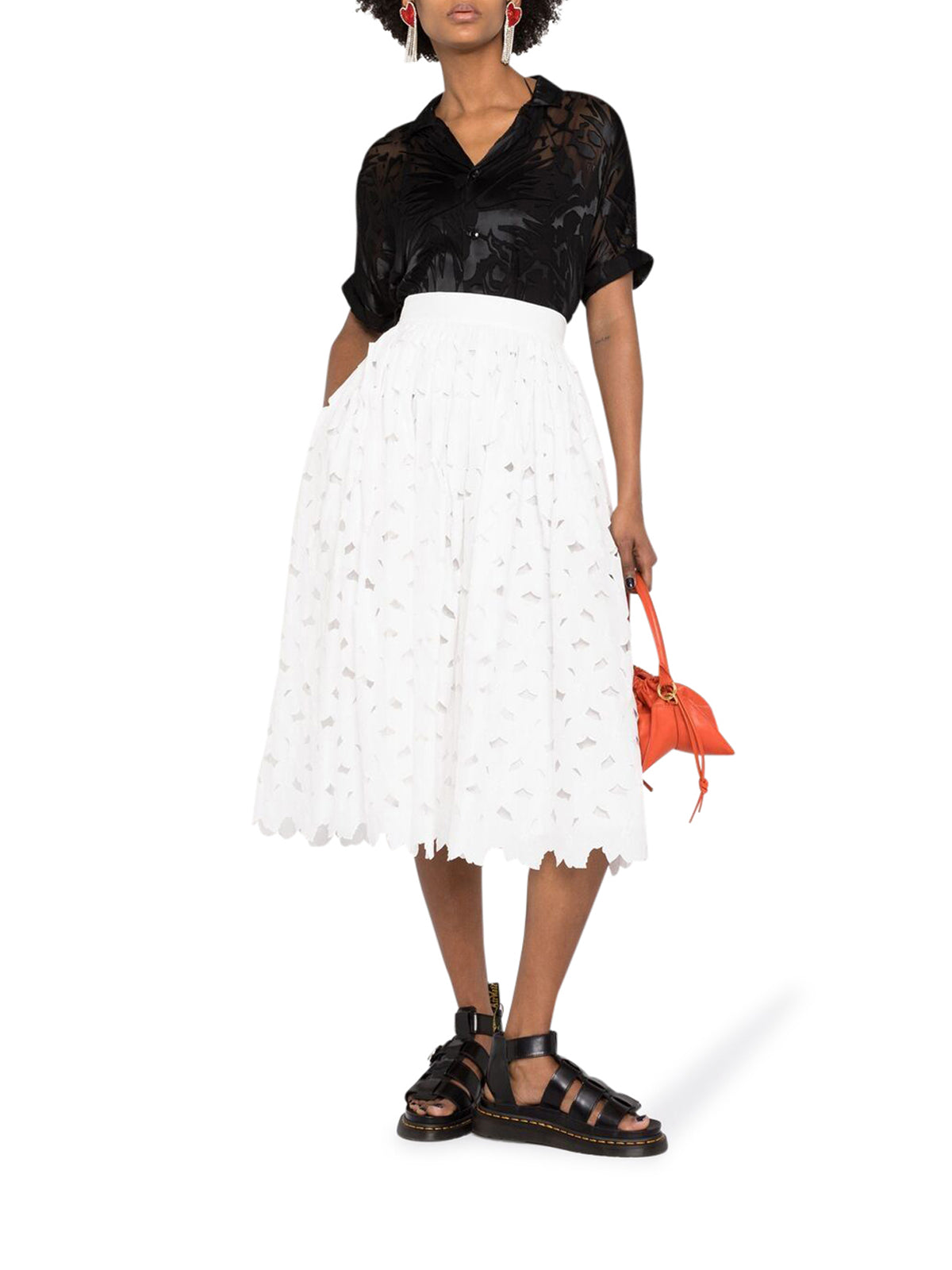 cut-out midi skirt