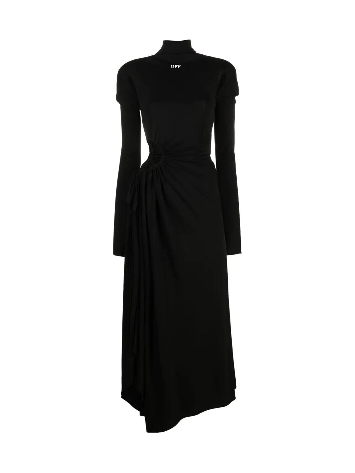 cut-out plissé panel long dress