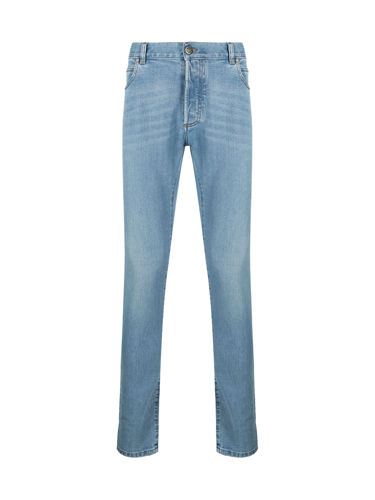 embroidered-monogram slim-fit jeans