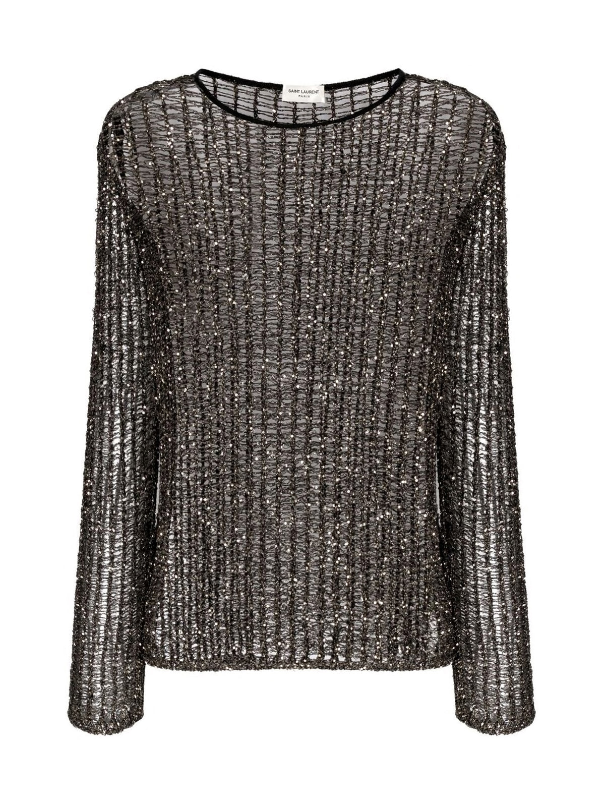 sequin-embellished ladder knit top