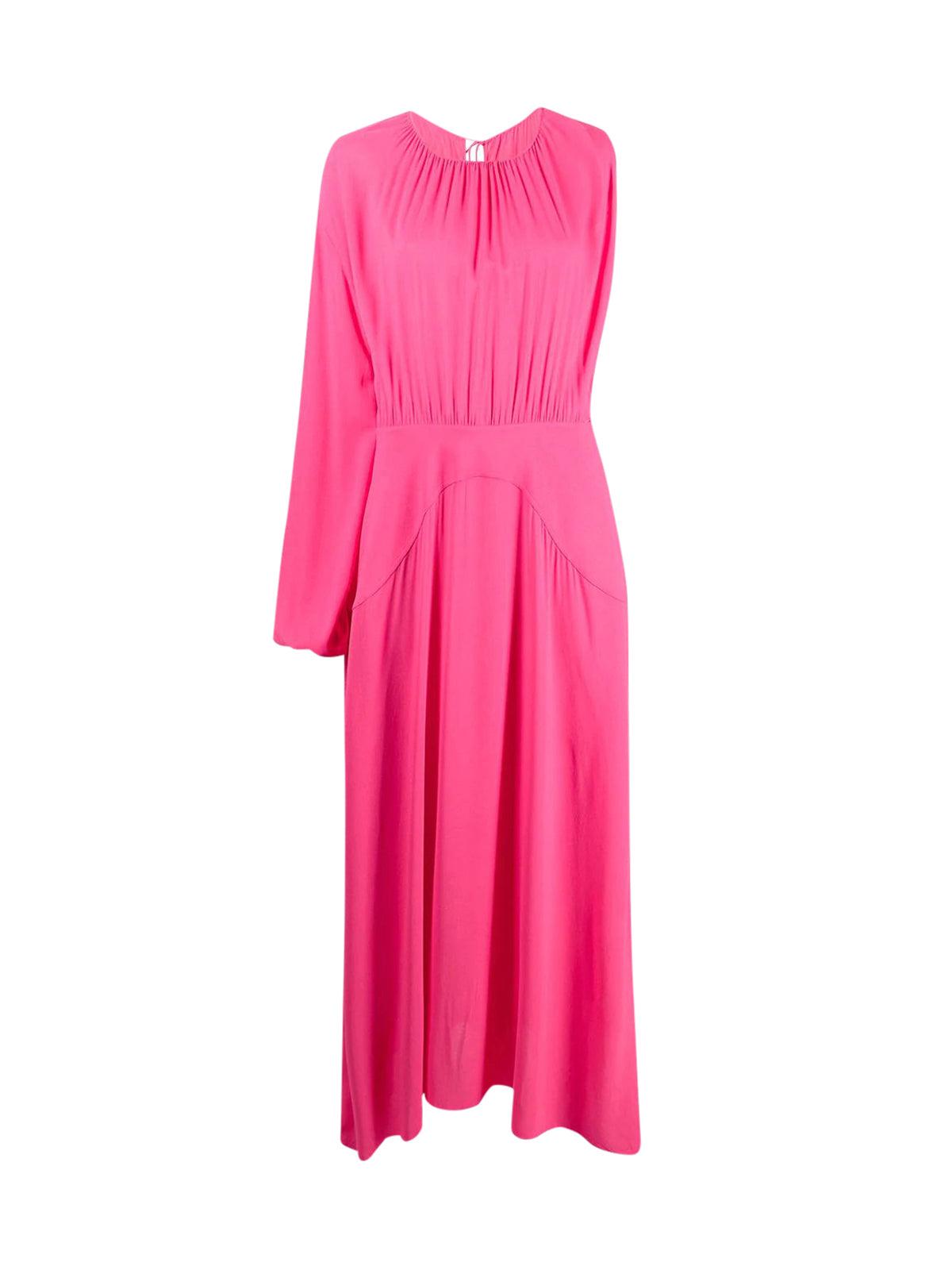 one-sleeve gathered maxi-dress