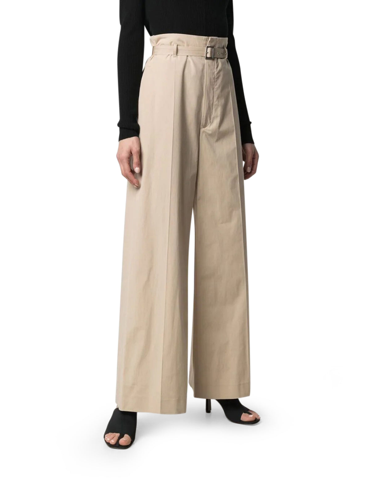 belted wide-leg trousers