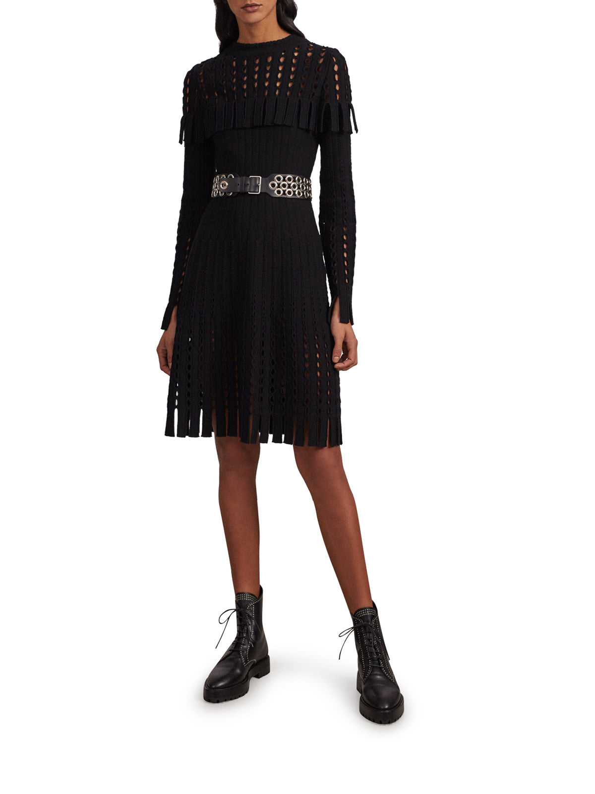 Alaïa Long Sleeved Dress In Perforated Knit In Black