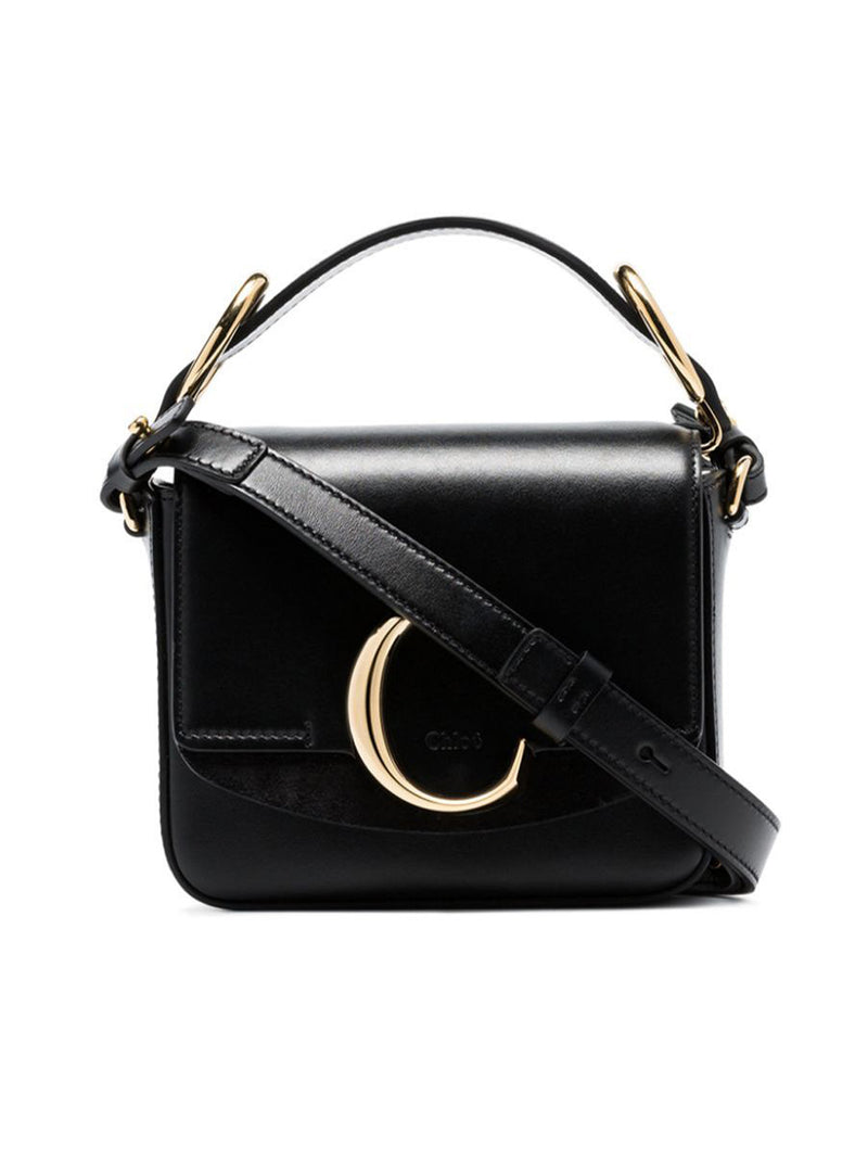 C RING TOP-HANDLE LEATHER SHOULDER BAG
