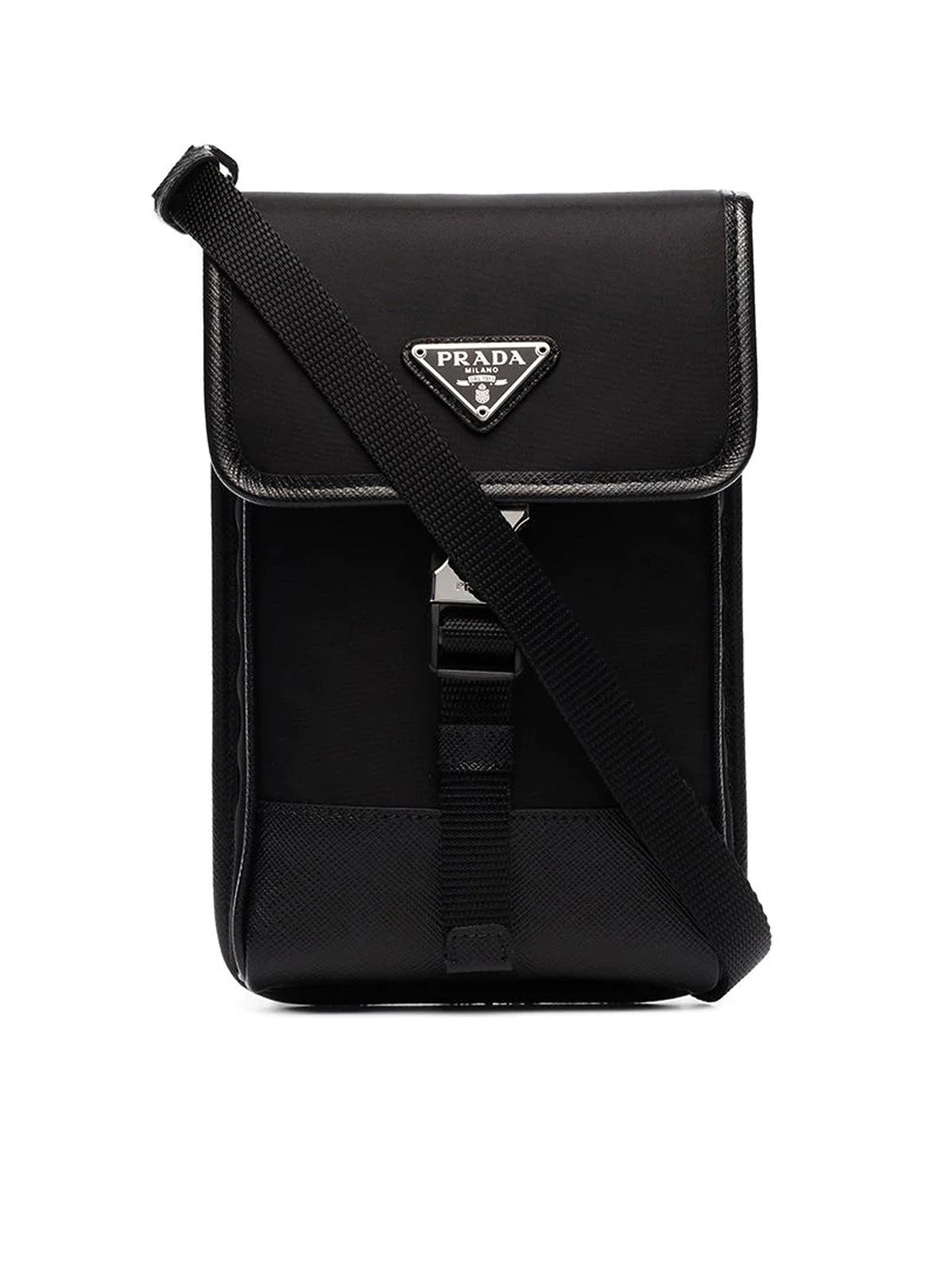 black Saffiano trim nylon pouch