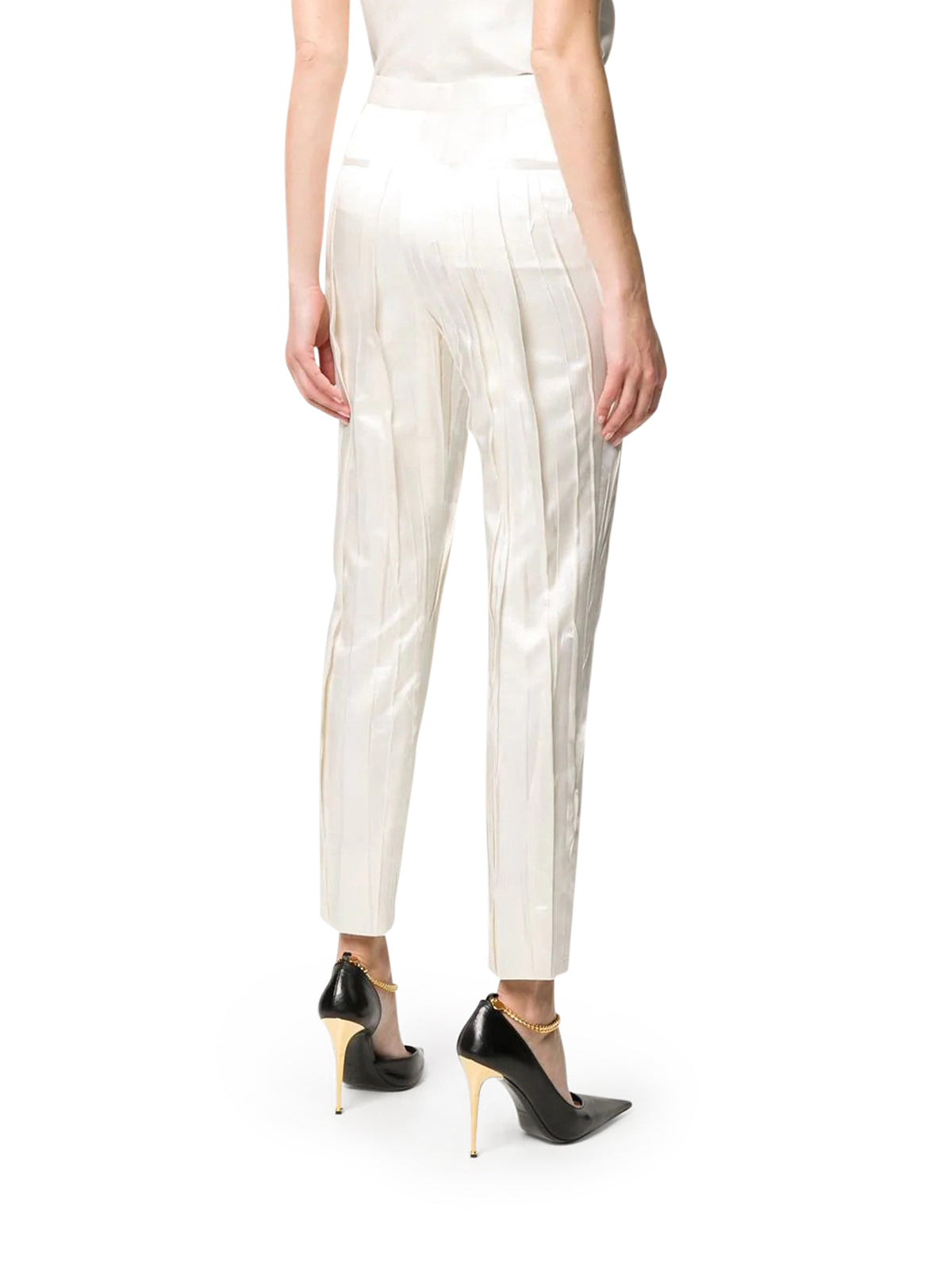 CRINKLE-EFFECT TAILORED TROUSERS