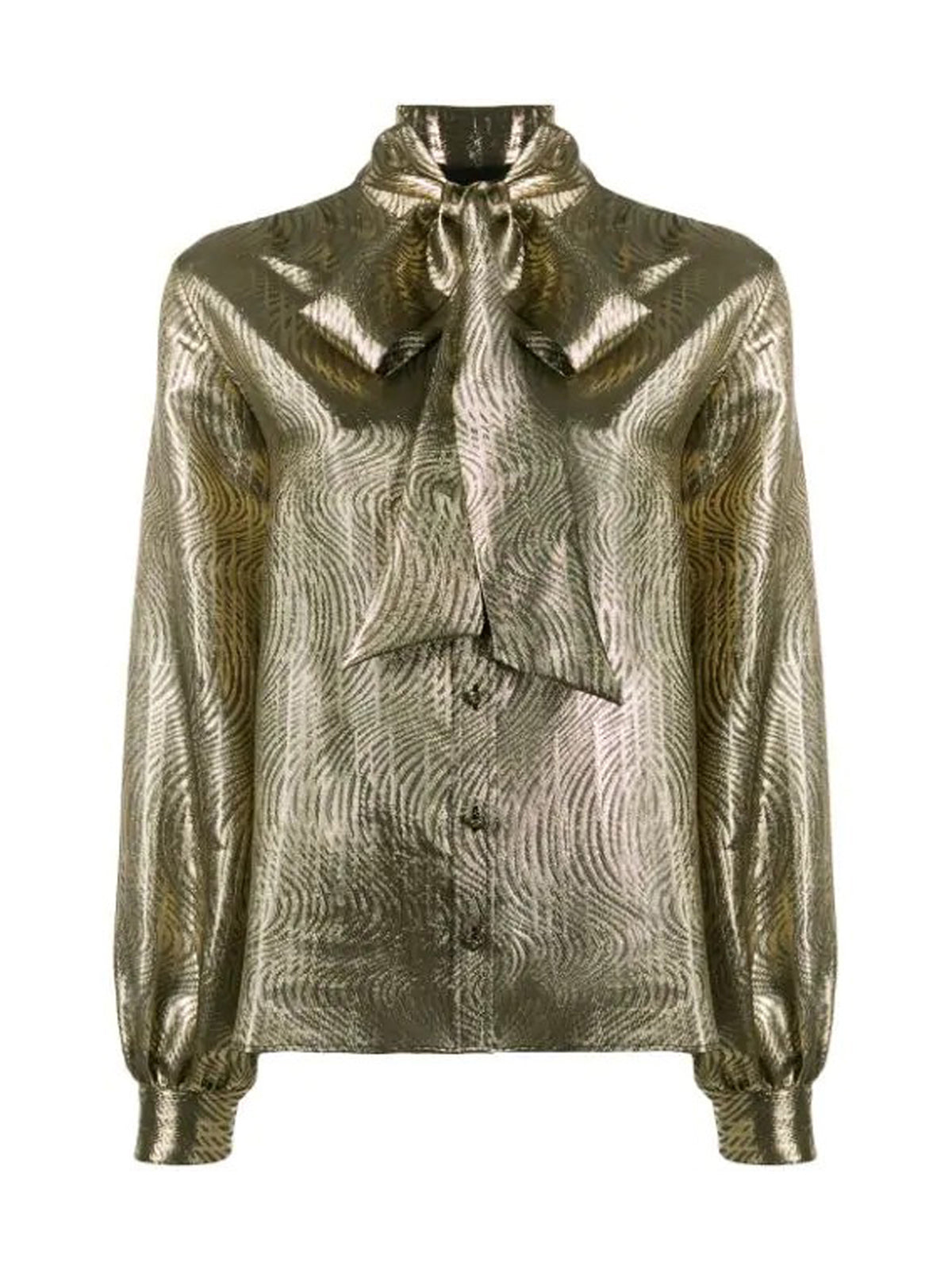 METALLIC BLOUSE WITH BOW