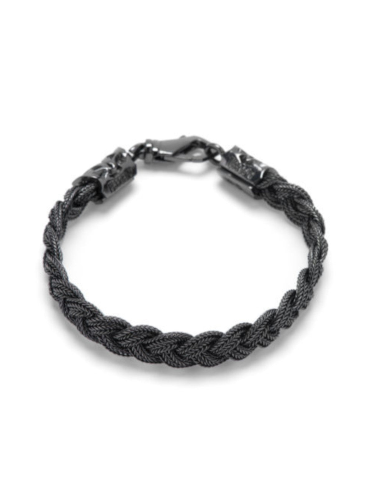 BLACK FLAT BRAIDED BRACELET