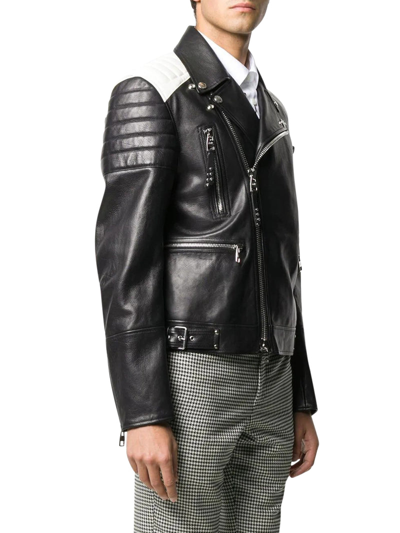 TWO-TONED BIKER JACKET