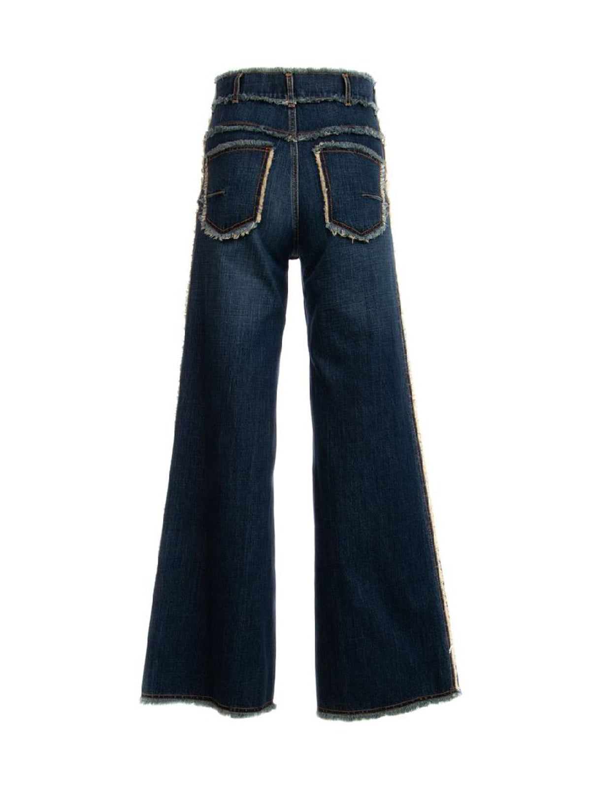 MEDIUM WASH FRAYED ACCENT DENIM JEANS