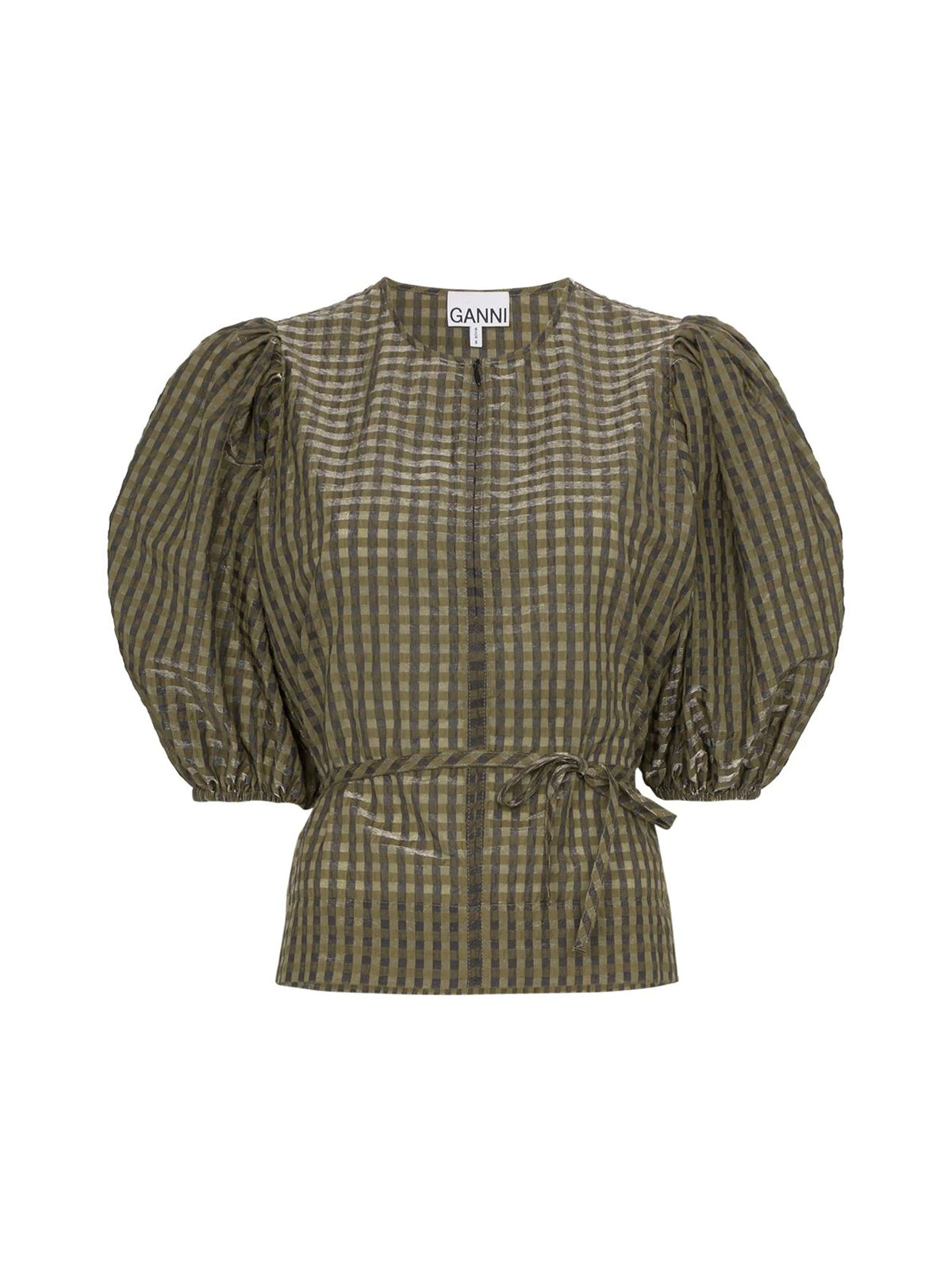 CHECKED TIE-WAIST BLOUSE