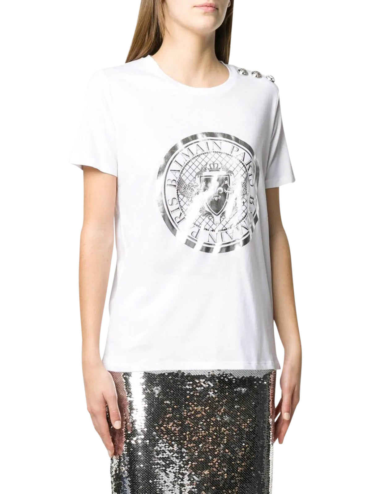 METALLIC PRINT TSHIRT AND SHOULDER BUTTONS