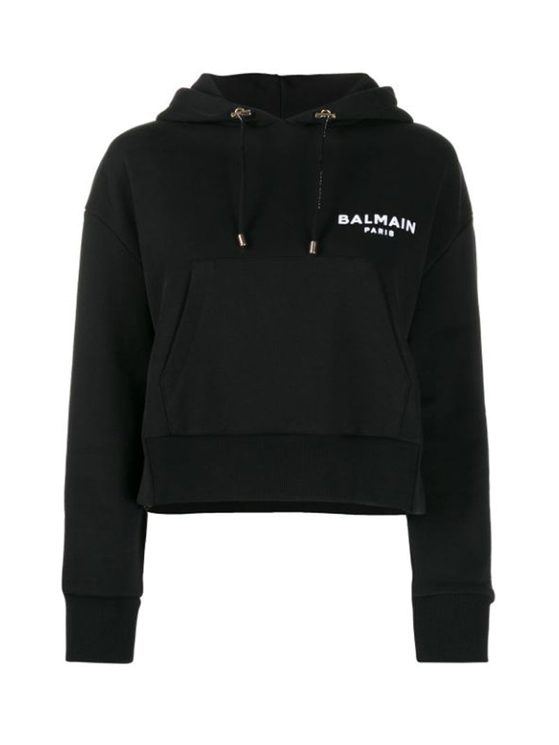 SHORT BLACK HOODED SWEATSHIRT WITH LOGO