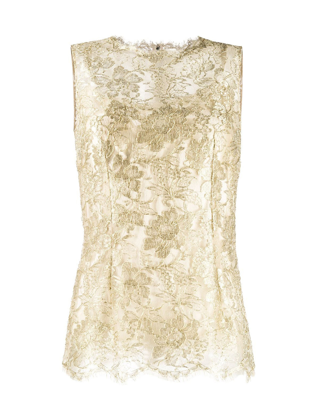 METALLIC CHANTILLY LACE TOP