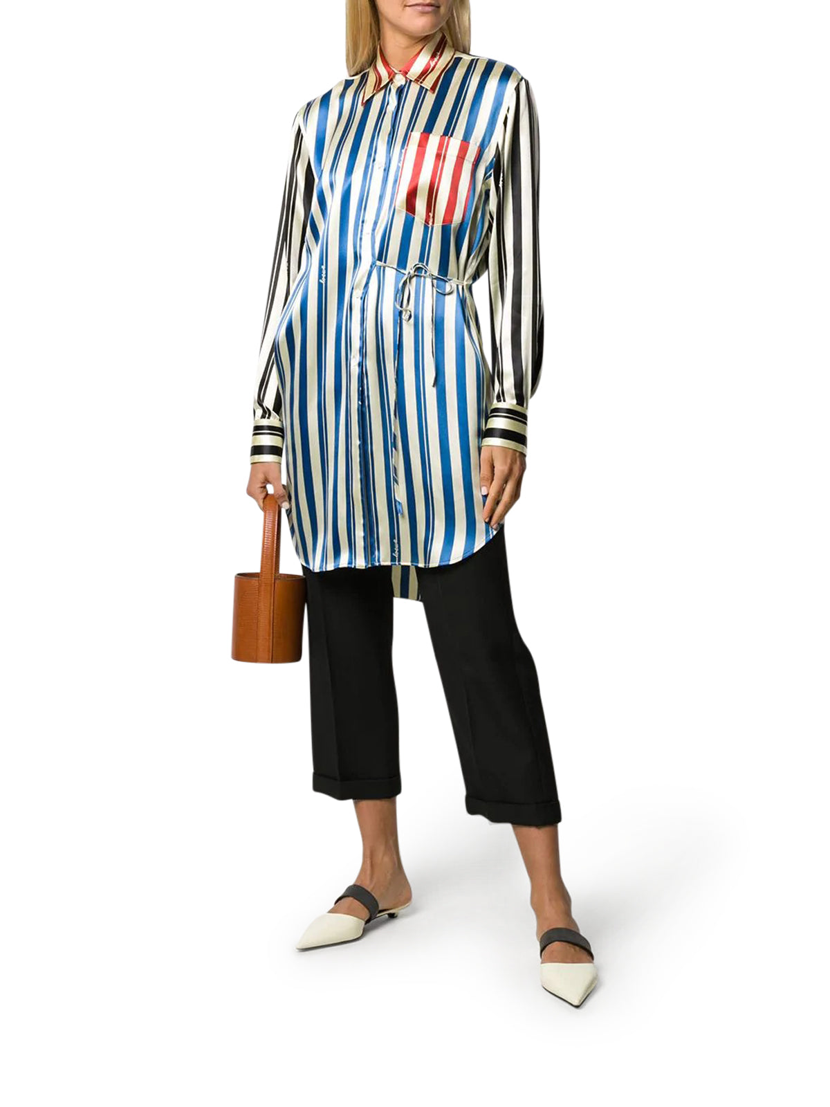 STRIPE PATCHWORK WRAP SHIRT