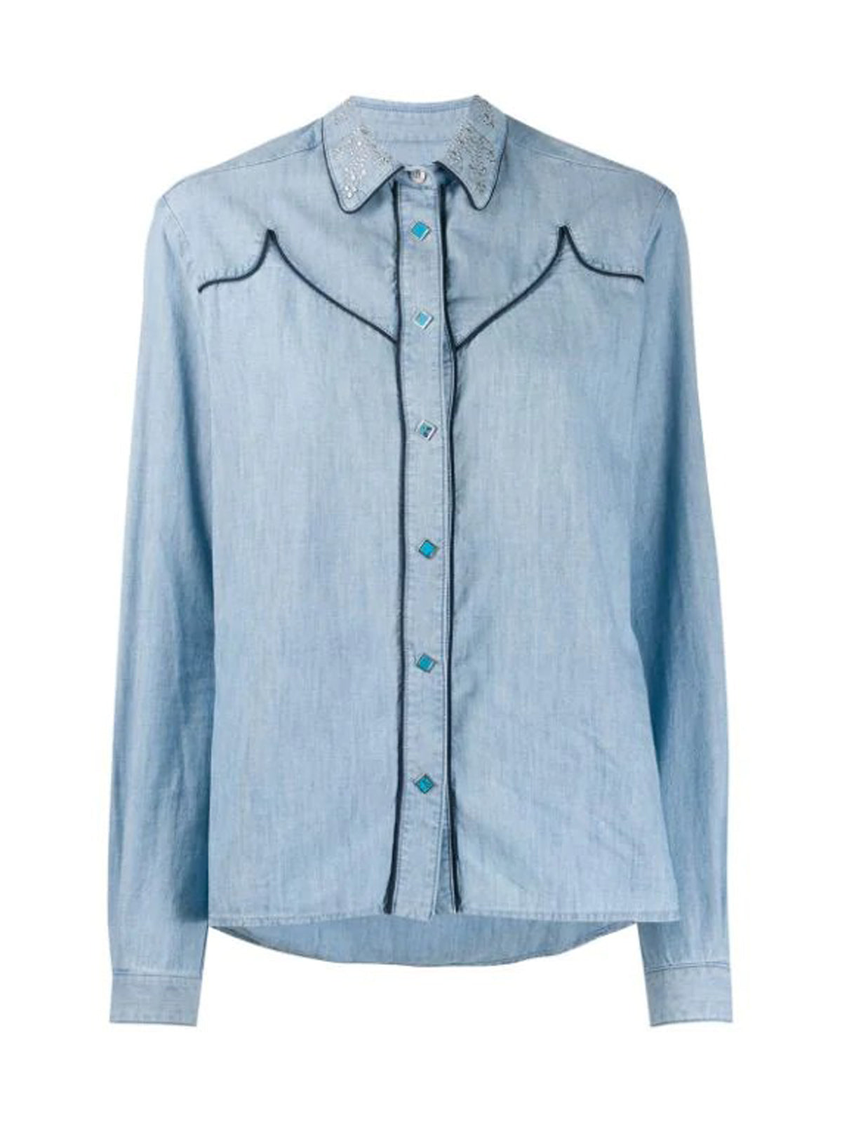 DENIM SHIRT WITH CONSTRASTING STITCHING