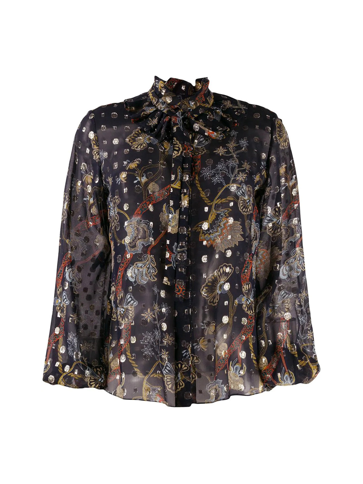 FLORAL-PRINT SHEER BLOUSE