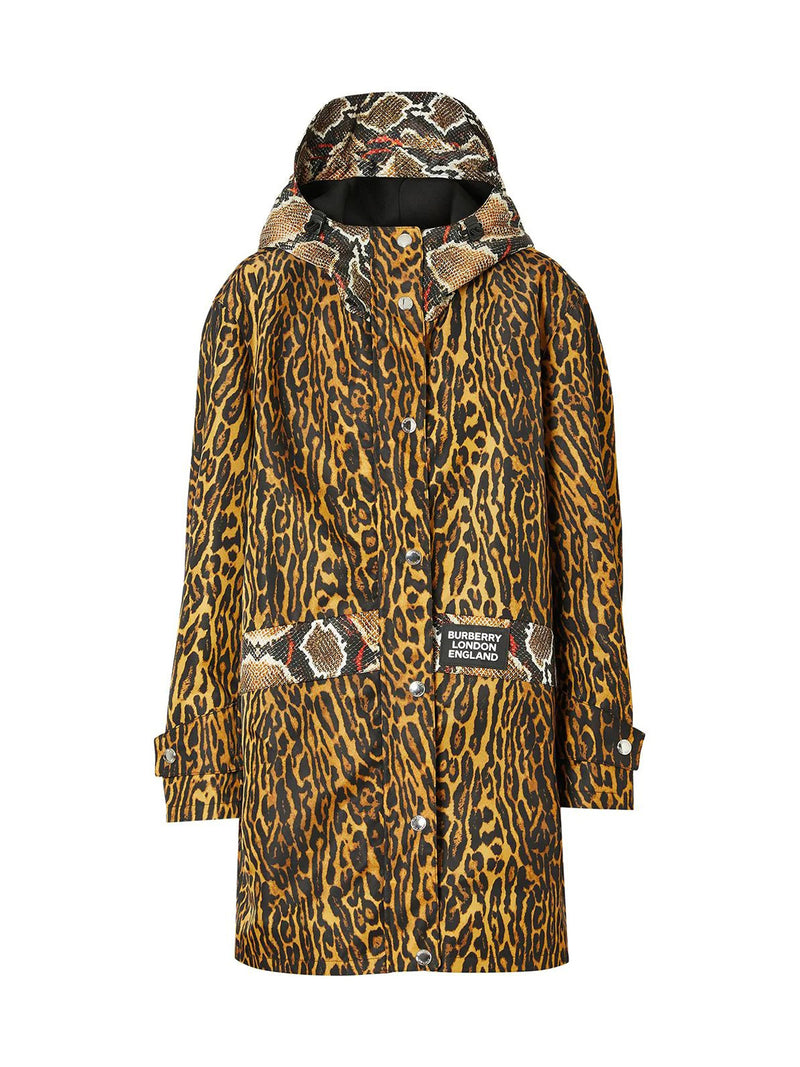 NYLON TWILL PARKA WITH ANIMALIER PRINT