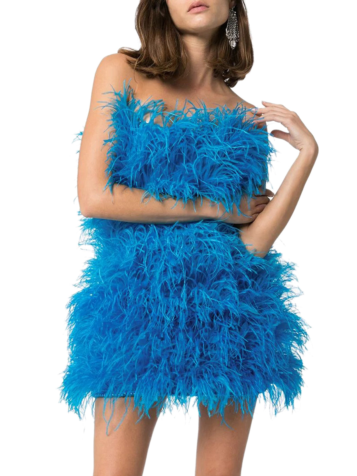 `ROSIE` TURQUOISE MINI DRESS IN OSTRICH FEATHERS