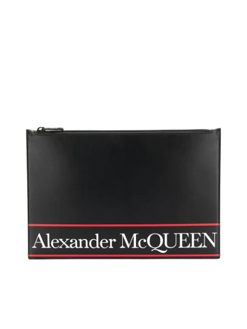 flat lettering logo printed clutch
