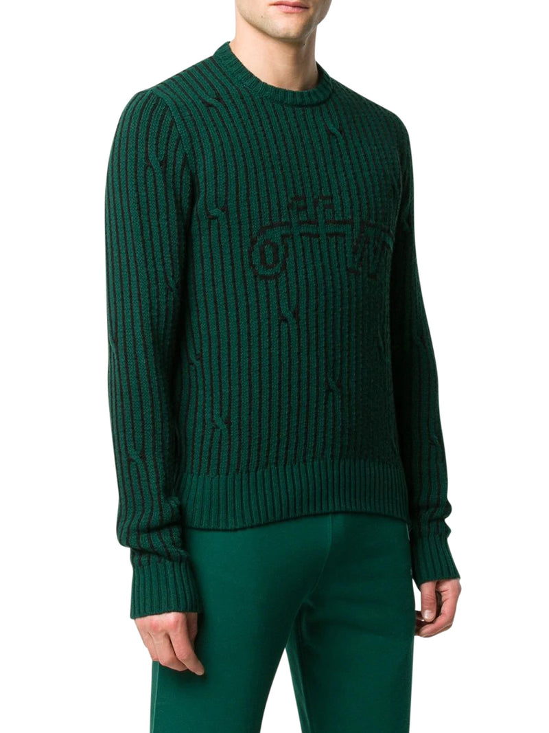 striped logo knitted jumper