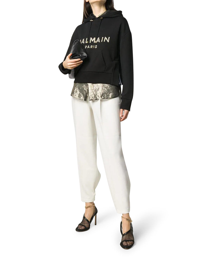 crystal-embellished cropped sweatshirt