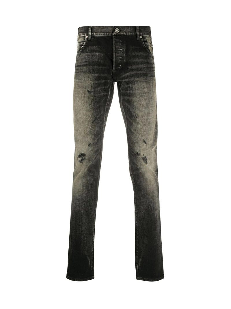 Slim jeans with lived effect
