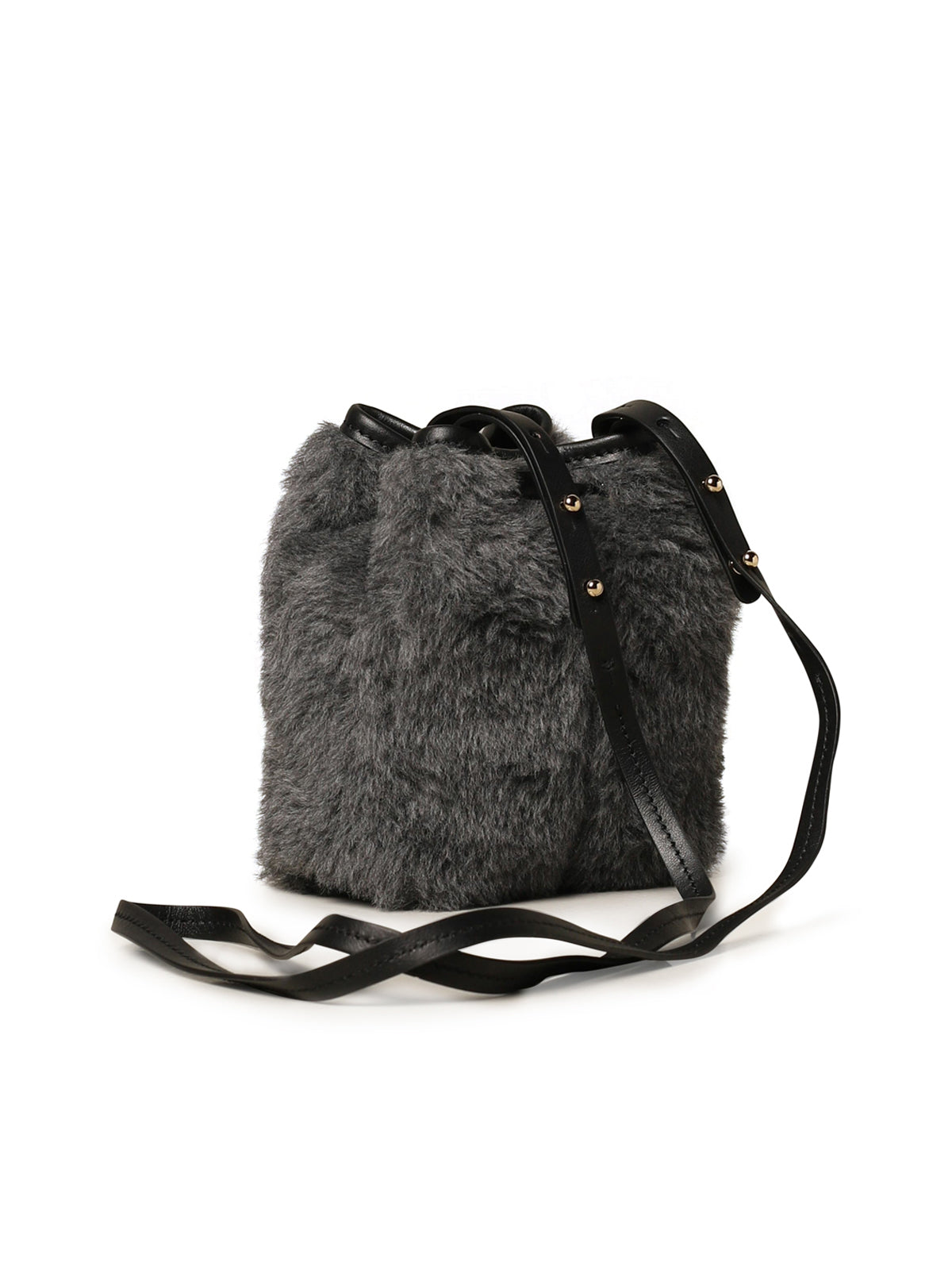 Max Mara teddy bucket bag in fur and leather