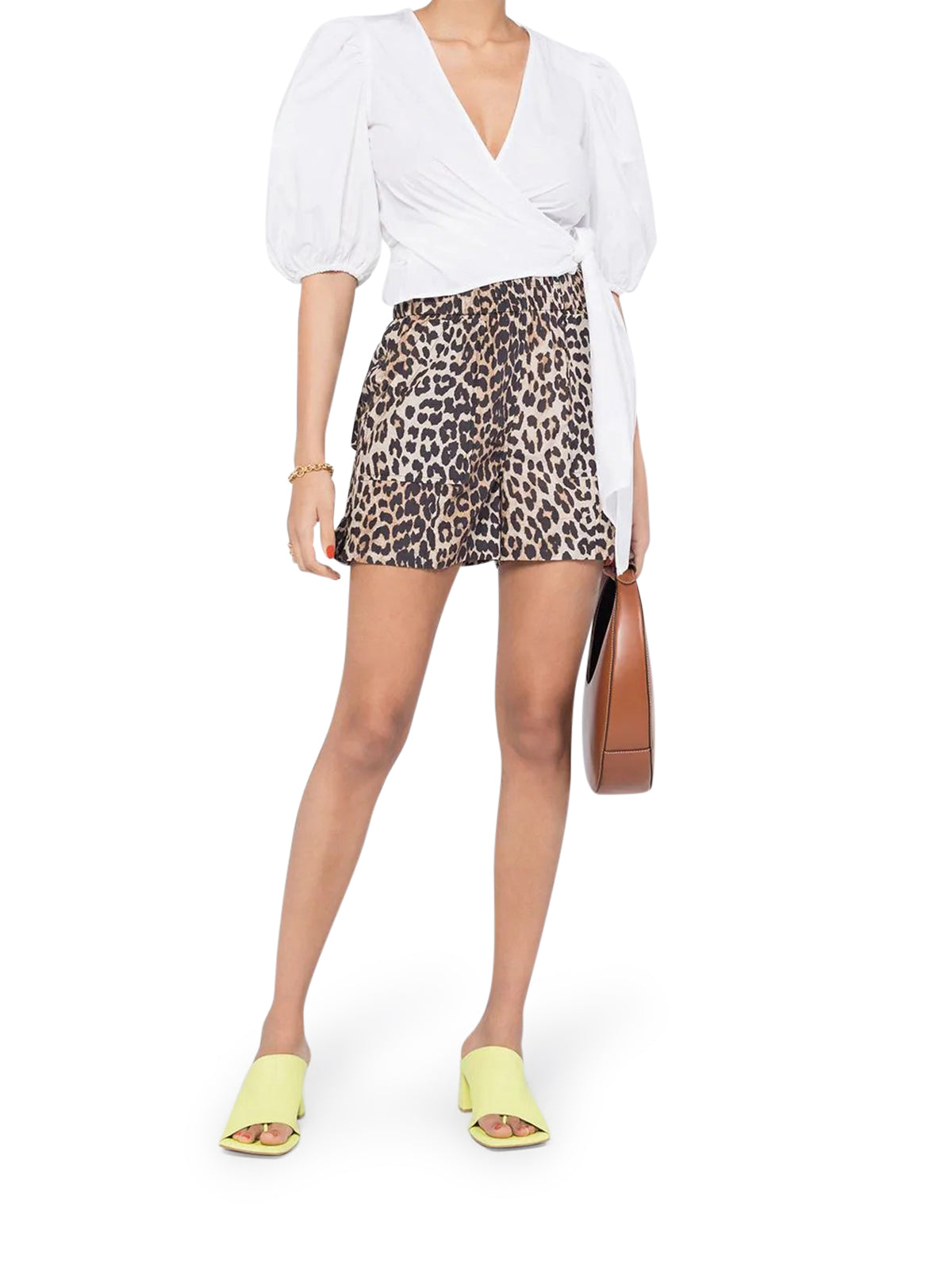 leopard print high-waisted shorts