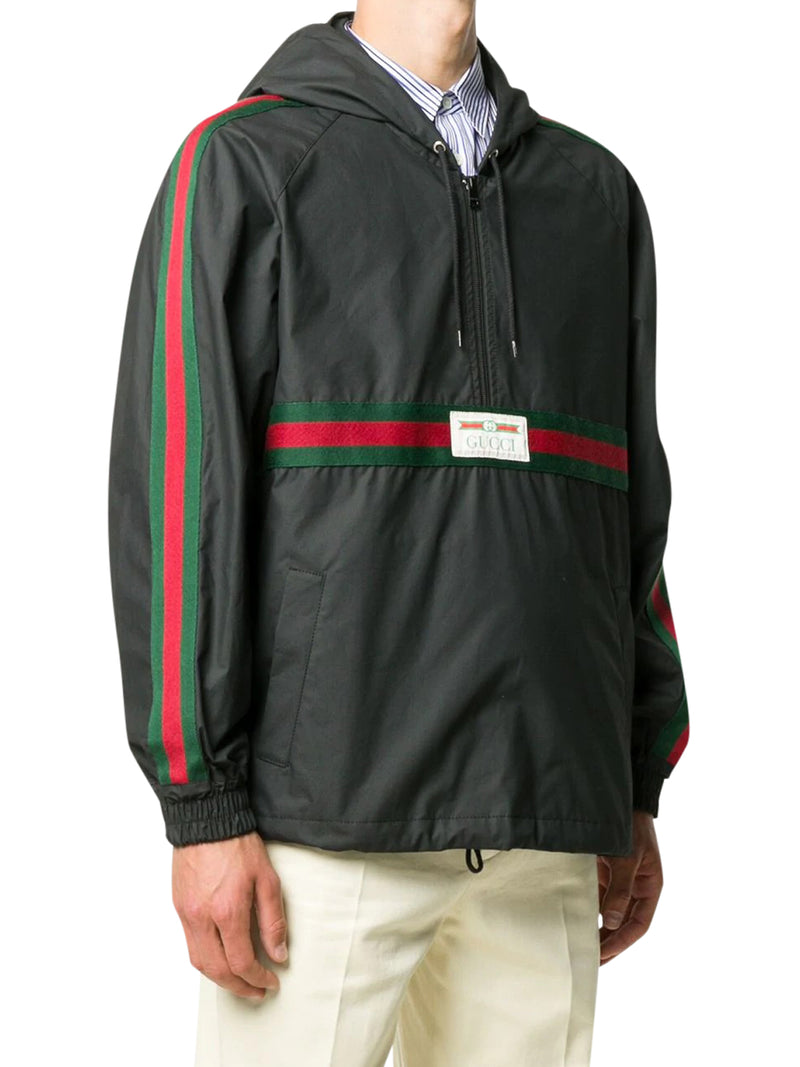Coated cotton windbreaker with Gucci label
