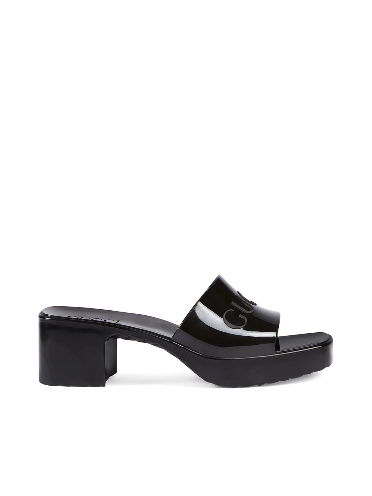 open toe logo mules