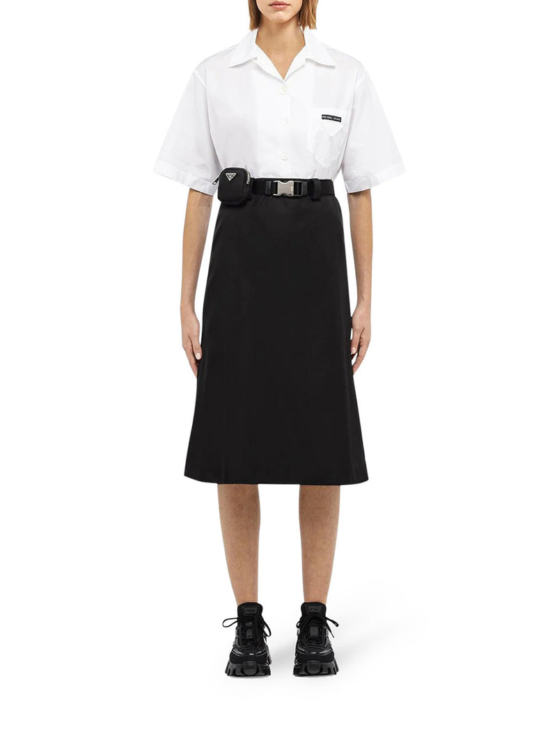 Re-Nylon gabardine skirt