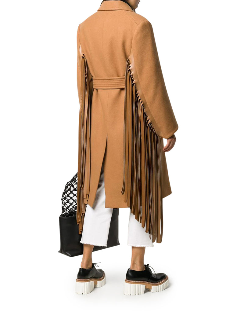 fringed-sleeve double-breasted wool coat