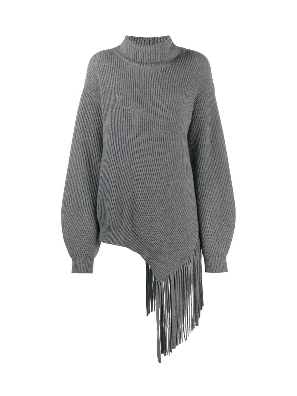 Fringed rib-knit long jumper