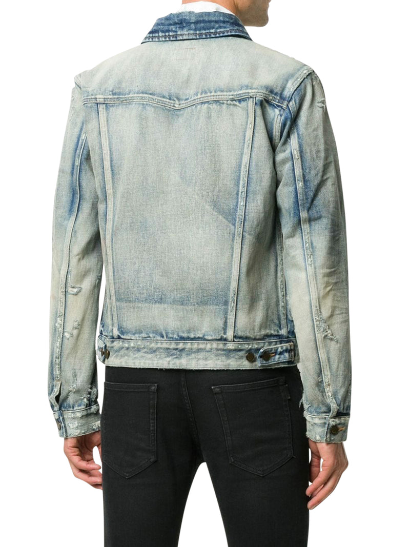 Denim jacket with lightening effect