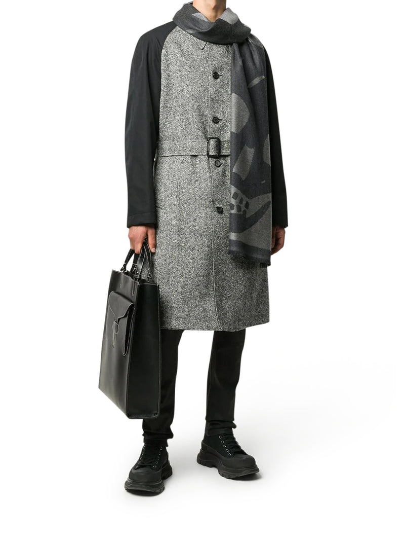 contrast-sleeve single-breasted coat